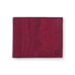 VEGAN  COIN WALLET  MAROON / 二つ折り財布 マルーン&ブラック コルク製 小銭入れ付き