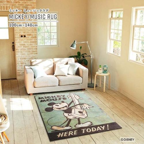 【最短3営業日で出荷】ラグマット ディズニー ミッキー ミュージックラグ グリーン 100cm×140cm Disney MICKEY/Music RUG スミノエ SUMINOE ラグ フロアマット ab-m0029