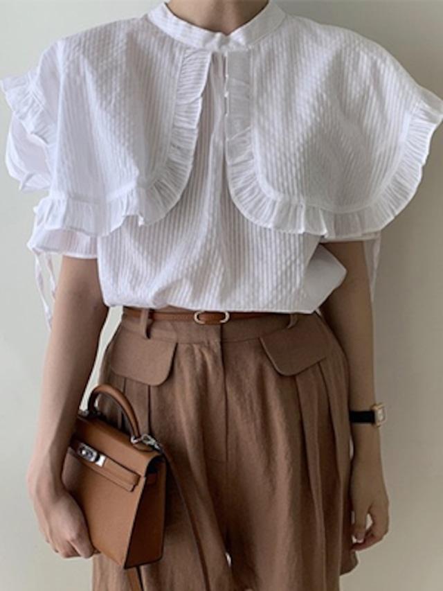 パフ袖 大きな襟 フリル ブラウス リボン ★2色