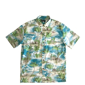 Mountain ボタンダウンアロハシャツ / Grass Shack  /  Capri Blue