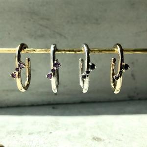 【LEF-02SV】Elliptic Ear cuff  BKsapphire amethyst