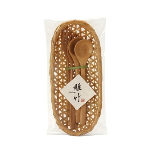 天然竹のカトラリーかご付セット 【41-142】