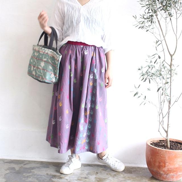 ミャンマーの手織り綿ギャザースカート【ダック柄玉虫プラム】