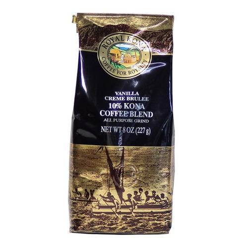 バニラクリームブリュレ(挽き済みの粉) ロイヤルコナ(8oz 227g) ハワイコナコーヒー フレーバーコーヒー