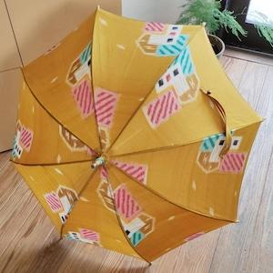 着物リメイク職人日傘・銘仙黄