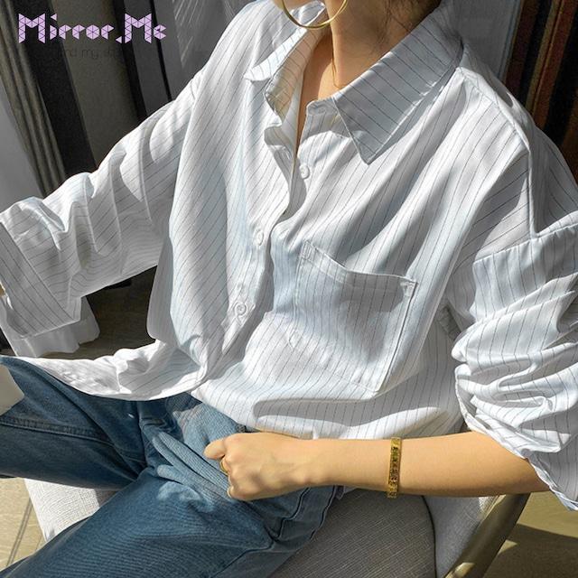ストライプシンプル美シルエットコットンシャツ