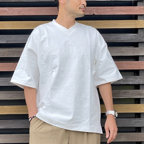 FORTUNA HOMME/フォルトゥナオム Embroidery V-neckStand T  FHCT-0004