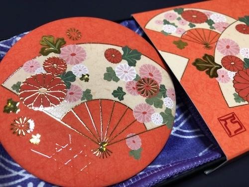 【手鏡】和柄レトロ/四季花 金彩手鏡《秋花~菊~》