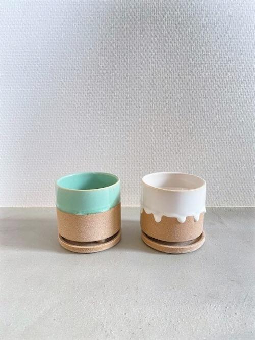 陶器鉢(グリーン/ホワイト) ※3号鉢サイズ