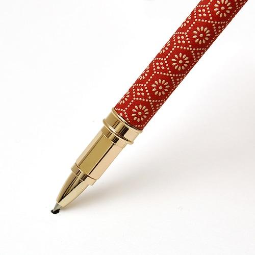 印伝水性ボールペン 亀甲菊 赤革×白漆