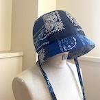 【RehersalL】bandanna basket hat(blue-D) /【リハーズオール】バンダナバスケットハット(ブルーD)