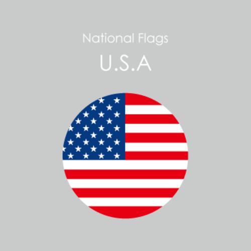 円形国旗ステッカー「U.S.A.」