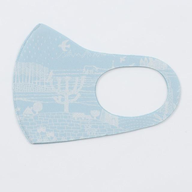 【アウトレット】ひびのこづえ 制菌&冷感マスク / ある一日 ブルー キシリトール加工 肌に密着 吸湿冷感 Mサイズ