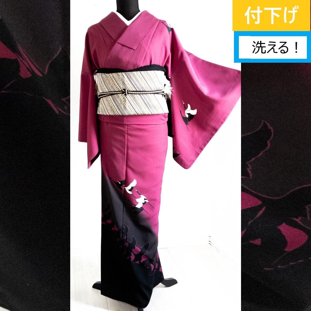 【洗える】プレタ付下げ 化繊 袷 白鶴~シルエット 赤紫蘇色×黒 丈164裄64