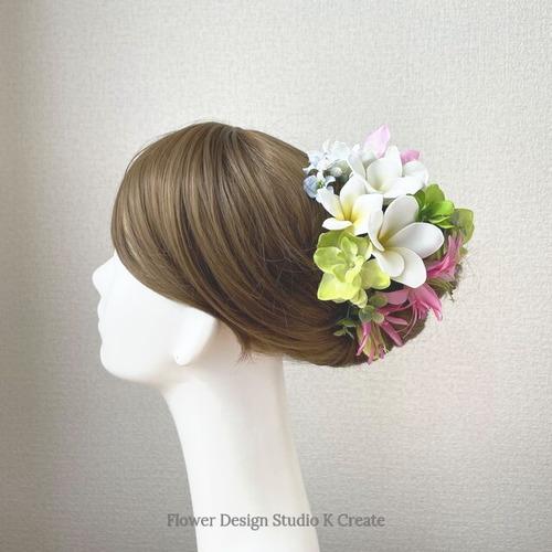 プルメリアとグリン紫陽花のヘッドドレス リゾートウェディング 髪飾り 成人式 結婚式 ヘッドドレス ウェディング