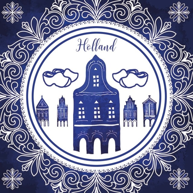 【Ambiente】バラ売り2枚 ランチサイズ ペーパーナプキン Holland Style ブルー