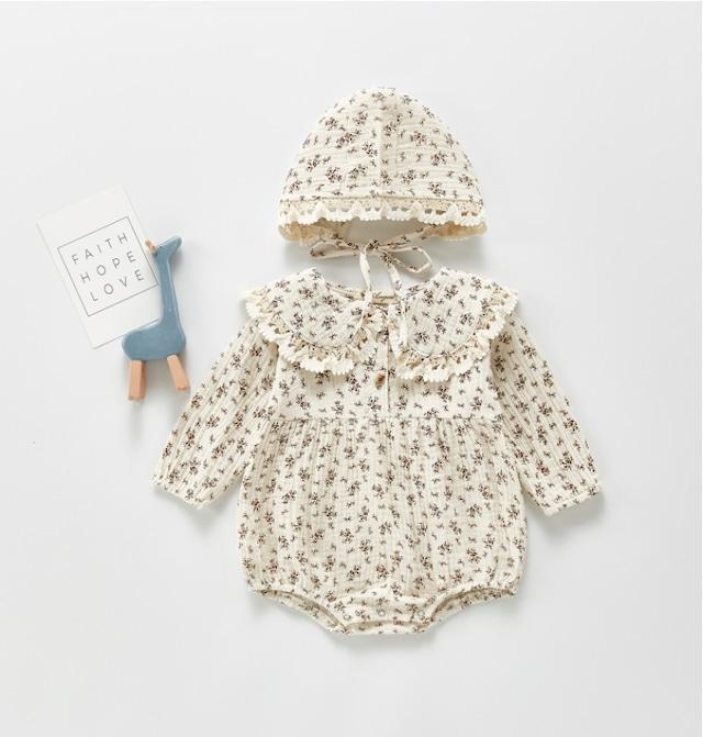 ハット付きフリルデザインノスタルジックフラワープリントロンパース(66cm-100cm)| LeaLea...♡(レアレア)-海外の子供服セレクトショップ