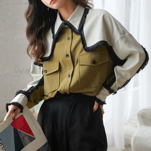 バイカラーカジュアルシャツ B201010
