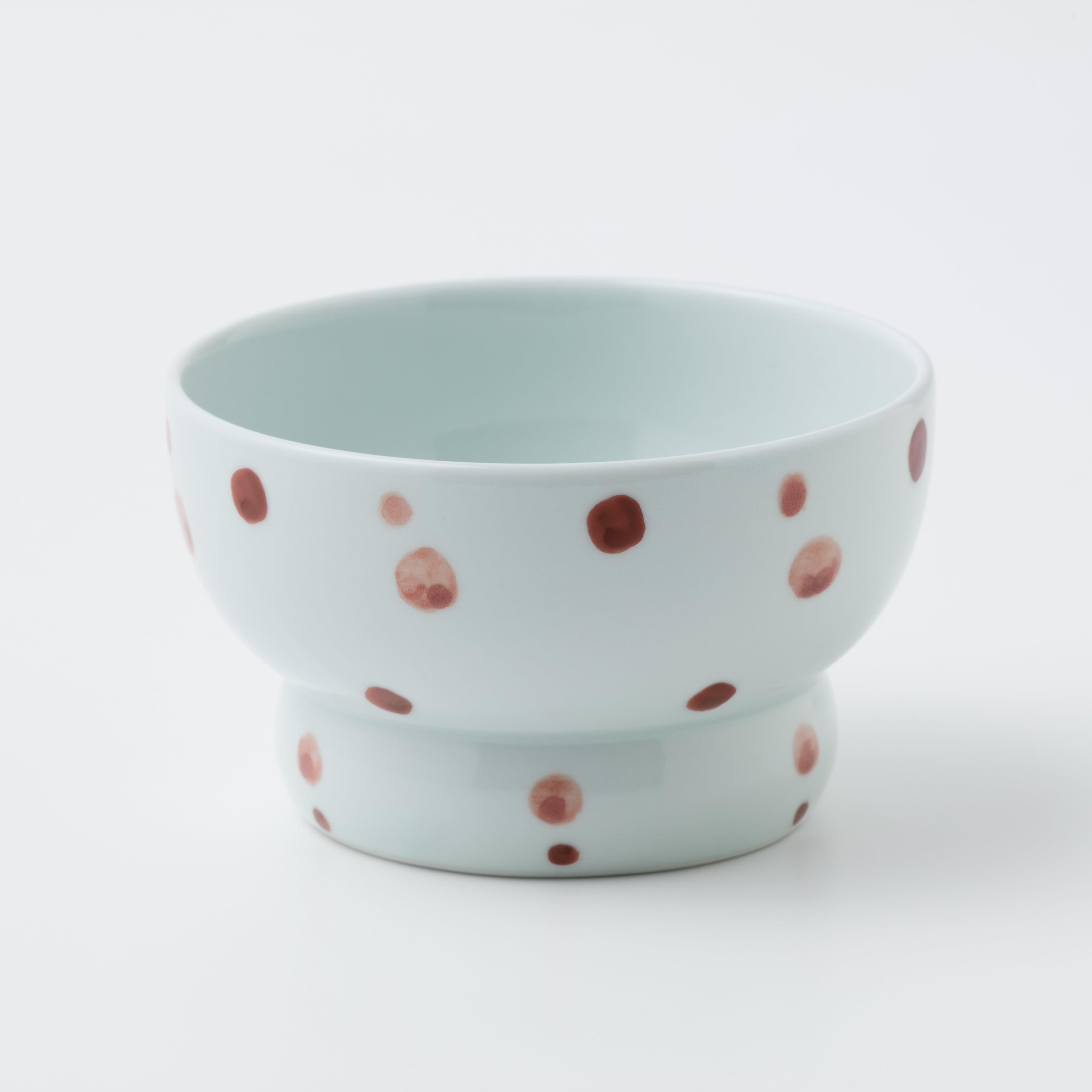 有田焼【まどか】 ロータイプ(水用) 赤い水玉  製造:江口製陶所