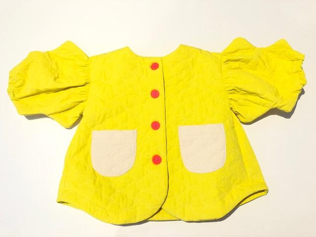 【20AW】フランキーグロウ ( frankygrow )BEAR QUILTING WAVE CUT SLEEVES JACKET[ S / M / L ]yellowアウター ジャケット
