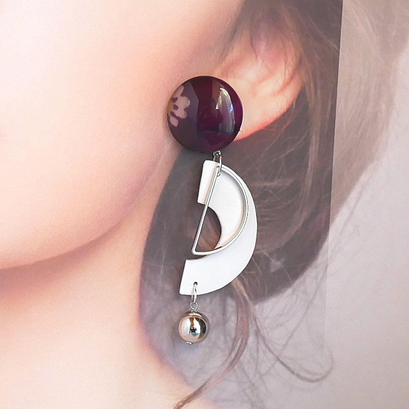 """"""" Earrings NO.0-1953″KIMONOとクレイビーズ"""