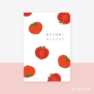 【暑中見舞い】綺麗な赤いトマトのイラスト