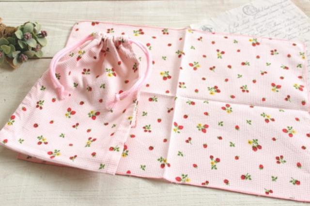 給食セット*巾着・ナフキンセット いちご ピンク/A*K 型番:A25