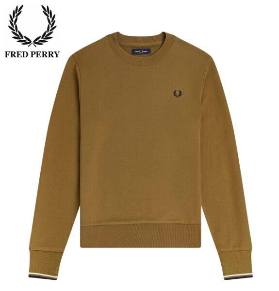フレッドペリー スウェット トレーナー メンズ FRED PERRY CREW NECK SWEATSHIRT M7535 DARK CARAMEL