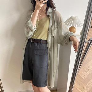 【即納】シアーロングシャツ|ホワイト グリーン ピンクパープル