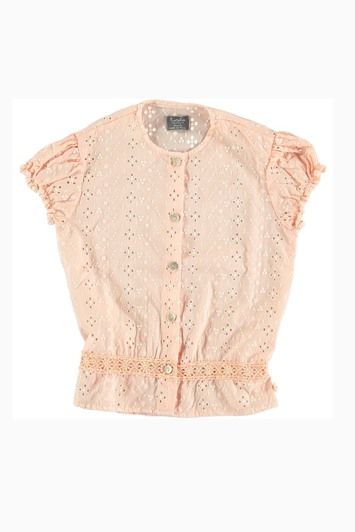 tocoto vintage Puff sleeved blouse with swiss embroidery details