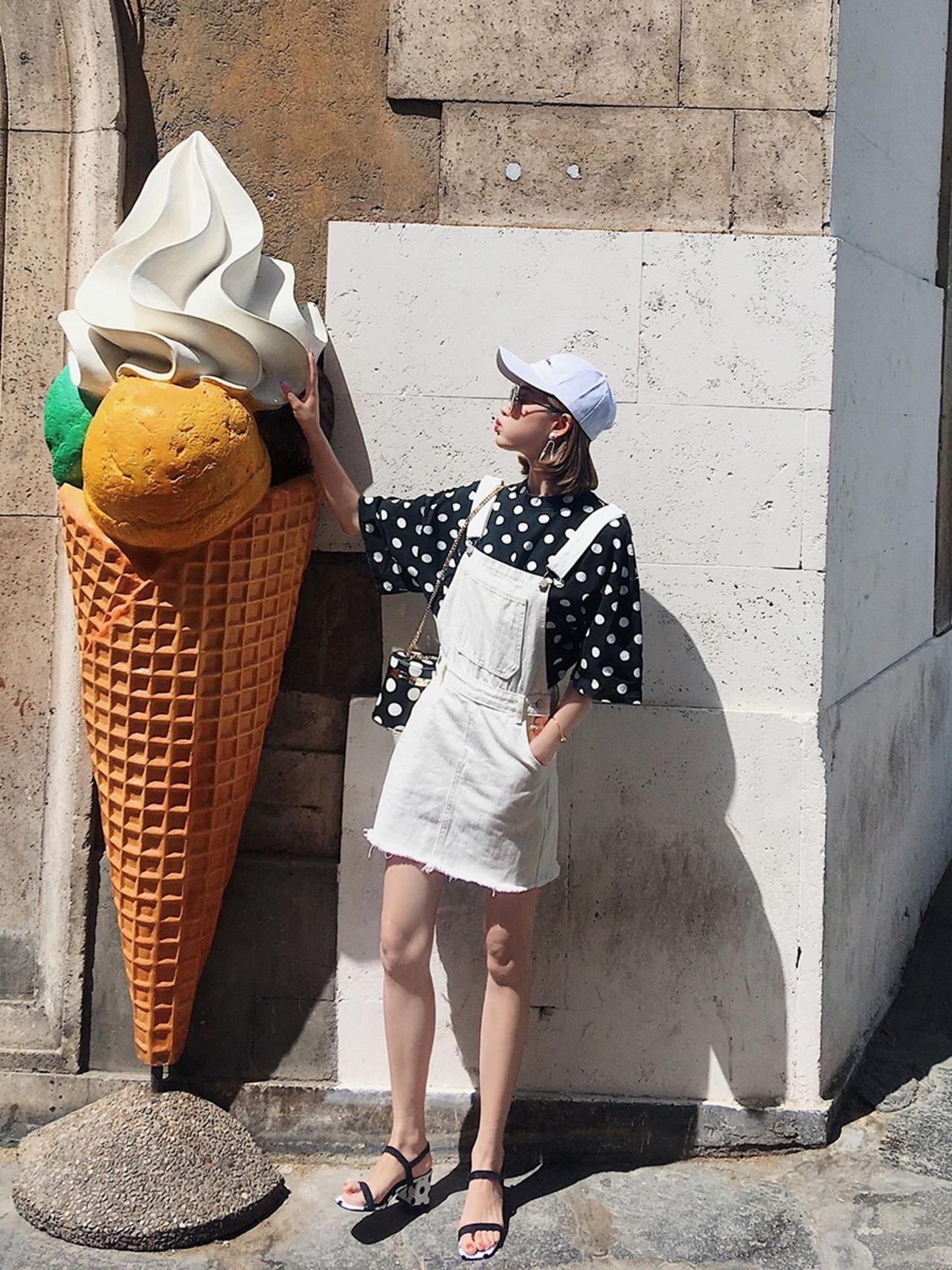 【即納】white overall skirt