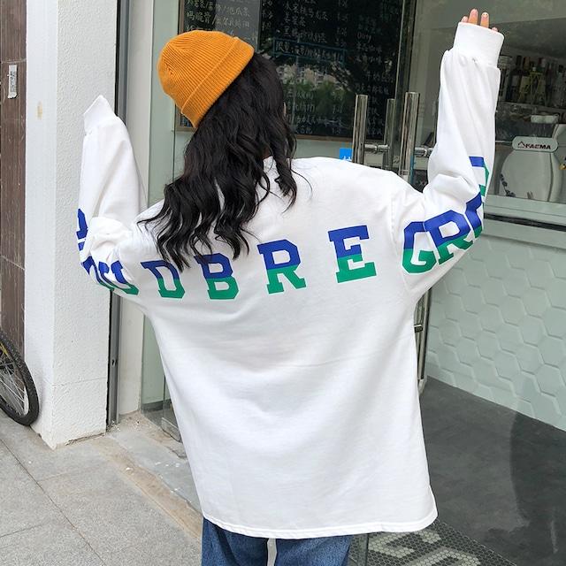 【トップス】韓国系長袖ラウンドネックプルオーバーTシャツ42920038