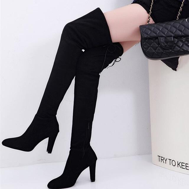 【シューズ】ファッションポインテッドトゥハイヒールロング丈ブーツ42912731