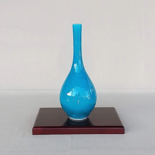 秀島窯作 交趾釉 トルコブルー 鶴首花瓶 B