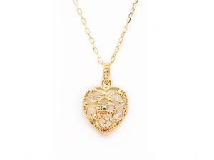 Sweet Heart 宝石質ブルートパーズ K10 ネックレス 42cmまで調整可 スライドボールつき