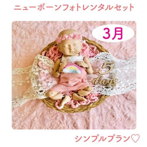 幸せのガーリピンク♡シンプルプラン♡ニューボーンフォトレンタル女の子セット<3月ご出産予定日のお客様枠>