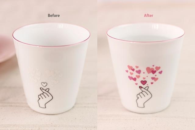 【cckyun】『カップからキュン』『冷感フリーカップ』 *母の日 かわいい 温度で変化 キュンマーク 演出 インスタ映え カップ プレゼント