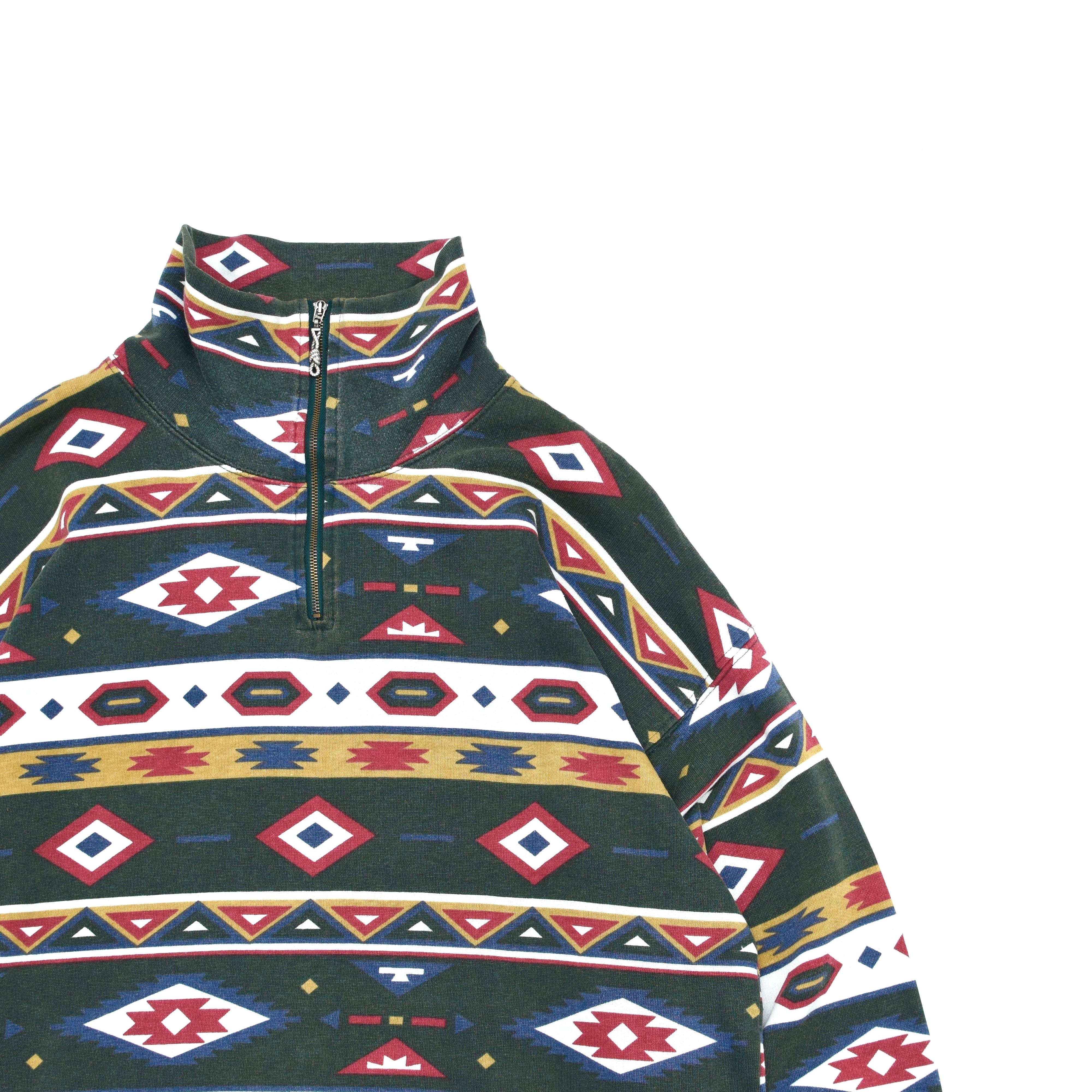 EUR vtg Ortega design halfzip sweatshirt
