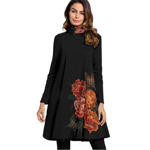 和風牡丹と蝶 ハイネックAラインドレス