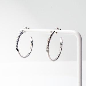 Rock Gold Hoop Pierced Earrings / M(E202-WG)