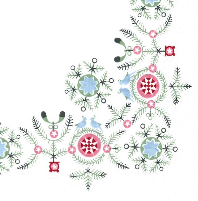 北欧【Rorstrand】バラ売り1枚 ランチサイズ ペーパーナプキン swgr winter napkins ホワイト
