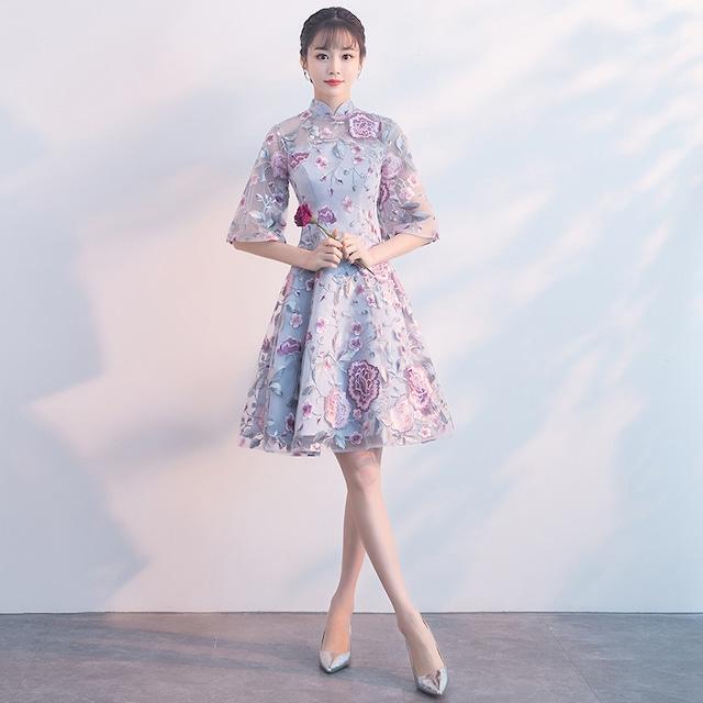ショートチャイナドレス 刺繍チャイナドレス チャイナ風ワンピース パーティードレス 五分袖 大きいサイズ XS S M L LL 3L チャイナ風服 二次会 入園式 卒業式 イブニングドレス パープル