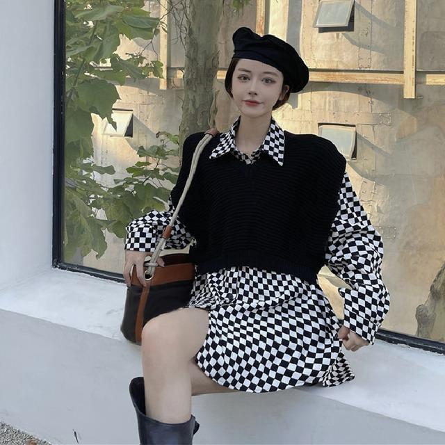 【セット】「単品注文」韓国系長袖シングルブレストPOLOネックシャツ+ベスト53283260