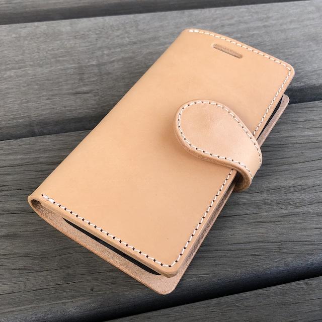【即納品】iPhone12mini用 手帳型ケース トスカーナ地方でなめされたイタリアンレザー 生成りヌメ革 ナチュラル SALE2