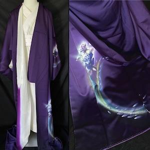 〈薔薇の紫色の訪問着〉SALE トール バラの着物 新古品 L