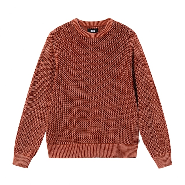 STUSSY PIGMENT DYED LOOSE GAUGE SWEATER SALMON