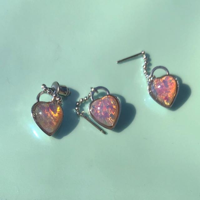 pink opal HEARTの鍵 earring 片耳 #1824 ピンクオパールハートの鍵ピアス