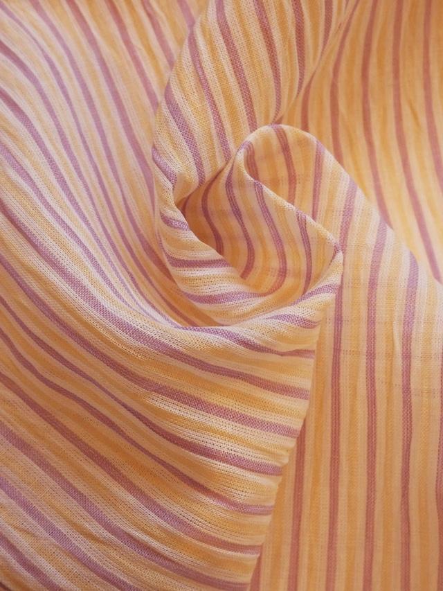 小千谷縮 ラベンダーと明るいレモン色のストライプ