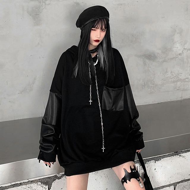 【トップス】切り替えし暗黒系ファッションストリートパーカー42909094
