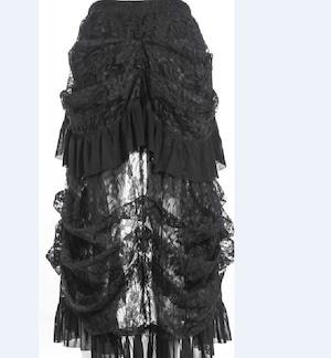 レディース スカート レース 黒 ショートスカート ゴシック ハイウェスト Aライン スカート パンク 大きいサイズ 2920